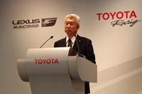 参戦計画の詳細を説明する、トヨタの加藤光久副社長。「トップのカテゴリーだけでなく、参加型のモータースポーツにも積極的に取り組みます」。
