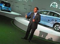 プレスカンファレンスに臨む、トヨタ自動車の豊田章男社長。