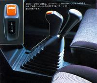 スーパーシフトの副変速機レバーの頭部に、パートタイム4WDの4WD/2WDの切り替えスイッチを装備。4×2×2で計16パターンの走りが選べると謳っていた。