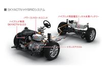 ハイブリッドシステム「SKYACTIV-HYBRID」の構成図。2リッターガソリンエンジンにモーターを組み合わせる。