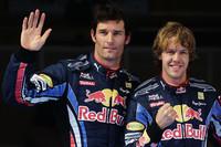 予選でフロントローを独占したレッドブルはドライでは他を寄せつけない速さで駆け抜けた。しかし雨の決勝では一転苦戦。4戦3度目のポールポジションからスタートしたベッテル(右)は6位、マーク・ウェバー(左)は8位に終わった。(写真=Red Bull Racing)