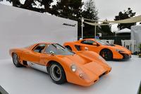 """極上のエンスー空間を目指した「モータースポーツ・ギャザリング」にはプレミアムブランドも多数協賛する。マクラーレンは、""""ロードカー1号車""""の「マクラーレンM6GT」を展示。製造はトロージャンが手掛けた。"""