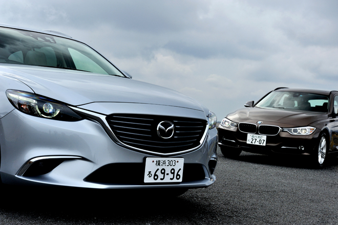 マツダ・アテンザワゴンXD Lパッケージ(FF/6AT)/BMW 320dツーリング スポーツ(FR/8AT)【試乗記】
