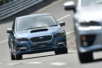 日本自動車研究所のテストコースを走る「スバル・レヴォーグ」の改良モデル。