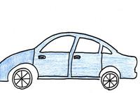 「クルマの絵」と言ってサインペンと色鉛筆で描いてもらった絵。(図1)