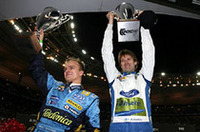 国別対抗戦を制した「フィンランド組」、来季ルノーでF1デビューするヘイキ・コバライネン(左)と、今季WRCでランキング2位のマーカス・グロンホルム。