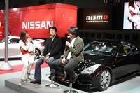 NISMO開発グループの岡村潤平GMと、NISMOオプションパーツ開発ドライバーである影山正美氏による、トークショーも行われた。
