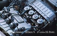 4連CV型キャブを備えた99シリーズのエンジン。当時の市販車としては驚異的な、リッターあたり88ps にも達する高回転・高出力型で、最高出力115ps/7500rpm、最大トルク12.05kgm/5500rpmを発生。最高速度185km/h、0- 400m加速16.9秒を豪語していた。