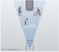 前走車だけでなく、歩行者や自転車も認識する。追突リスクが高まるとドライバーに警告を与え、その後ブレーキを作動する。