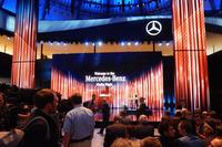 メディアナイトはモーターショー会場の正面入り口近くにあるメルセデス・ベンツ・ブースで開催された。