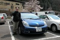 出発前、駐車場で一服。