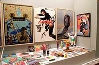 60年代のヒット商品のひとつである資生堂MG5(男性化粧品)の広告ポスターを中心とした展示。