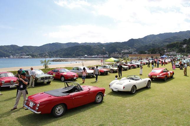 メイン会場は熱海市の長浜海水浴場に隣接した長浜海浜公園の芝生広場と駐車場の一部。そこに約200台の旧車が展示された。