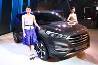 ヒュンダイが出展したSUVタイプのグローバルモデル「ツーソン」。