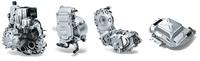 ハイブリッドシステムを構成する主要パーツ。左から5段シングルクラッチ式ATの「オートギヤシフト」、駆動用モーターの「MGU」、減速機、高電圧リチウムイオンバッテリーとインバーターからなる「パワーパック」。