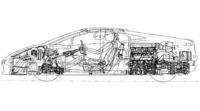 パワートレインの低さと、ニューV10の小ささに注意。ドライバーの後ろには、カバンひとつ分のスペースが確保される。