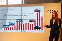 アウディ ジャパンのマーケティング本部長を務めるミクシェ・シルケ氏は発表会の中で、「高次元のパッケージングを特徴とする最新の『A3』は、これからのプレミアムコンパクトのスタンダードになる」などと同車を紹介した。