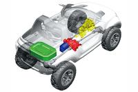 「エックス・ランダー」の駆動システムの透視図。黄がトランスミッション、緑がバッテリー、赤がセンターデフで、青がモーター。