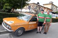 ドイツ・ミュンヘンから1976年「フィアット132」とともにやってきた参加者。「10年前にフィレンツェで見つけた」とのこと。