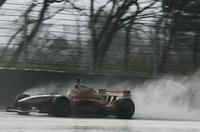 優勝したトレルイエ。写真は決勝日朝のフリー走行、ヘアピン進入の様子。既に雨で水びだし。