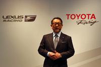 昨年に続き、今年も豊田章男社長が登壇。身ぶり手ぶりを交え、モータースポーツへの思いを熱く語った。