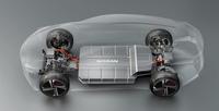 薄型のバッテリーを中央にレイアウトした、EV専用プラットフォームのイメージ図。