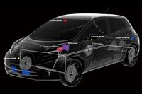 試作車に搭載される自動運転システムの透視図。