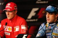 2005年に見られなかった新旧チャンピオン対決が今年実現。シーズン序盤にポイントを稼いだアロンソ(右)対、ヨーロッパラウンドに突入し復活の狼煙をあげたシューマッハー(左)。5戦を終えふたりのポイント差は13点、シーズンはまだ13戦も残っている。(写真=Renault)