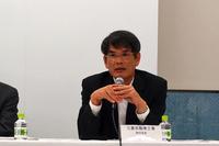 こちらは、三菱の蓮尾氏。同社は、独自のプラグインハイブリッドシステムを持つ「三菱アウトランダーPHEV」をラインナップする。