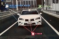自動運転走行のイメージ図。レーザーレーダーとミリ波レーダー、さらに単眼カメラを駆使して、周囲の状況を判断する。