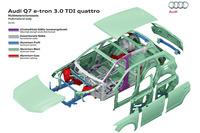 現行型「Q7」は新開発のプラットフォームとアルミなどの軽量部材の積極的な採用により、従来型から大幅な軽量化を実現している。