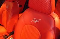 専用の刺しゅうが施されたシート。座面や背もたれ、ヘッドレストには、イントレチャート(革の編み込み)をかたどった合成皮革が採用されている。