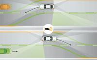 「アクティブレーンチェンジングアシスト」の作動イメージ。ドライバーがウインカーを2秒以上点滅させることで、システムが作動する。