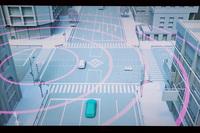 """最新の運転支援システム「ITS Connect」のイメージ図。道路に設置された設備との""""路車間通信""""を介して、ドライバーは自ら確認できない対向車の存在などを把握できるようになる。"""