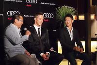 報告会ではA.ロッテラー選手と中嶋一貴選手によるトークショーも行われた。