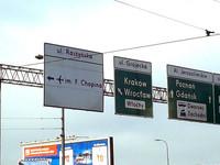 道路標示。ワルシャワ空港は別名フレデリック・ショパン空港(左)といわれる。