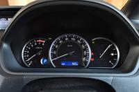 ガソリンエンジン車のメーター。ハイブリッド車では、左側のタコメーターに代えてパワーメーターが置かれる。