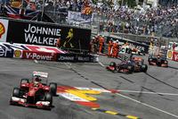 フェラーリにとっては厳しい週末となった。フェルナンド・アロンソ(写真前)は予選で6位、決勝ではメルセデス、レッドブルはおろかフォースインディア、マクラーレンにもペースでかなわず7位。チームメイトのフェリッペ・マッサは土曜日のフリー走行でクラッシュ、マシンを壊し予選出走できず。レースには出場できたものの、同じ場所で同じようにクラッシュを演じリタイア、セーフティーカーのきっかけをつくった。首を痛め病院で検査を受けた。(Photo=Ferrari)