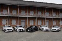 今回のツアーで試乗に供されたのは写真の5台。左から「CTSプレミアム」「ATS-Vセダン スペックB」「CTS-Vセダン スペックB」「CT6プラチナム」「ATSセダン プレミアム」。