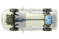 「XVハイブリッド」のモーターとバッテリーの配置。