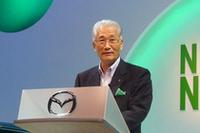 「デミオは、マツダの命運を握るクルマといっても過言ではありません」井巻久一代表取締役会長 社長兼CEOの挨拶にも力が入った。