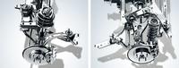 「WRX S4」の足まわり。ブレーキには、前後とも17インチのベンチレーテッドディスクを採用している。