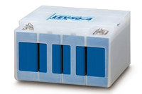 「i MiEV」に搭載されるリチウムイオンバッテリーモジュール。これがフロア下にいくつも搭載される。