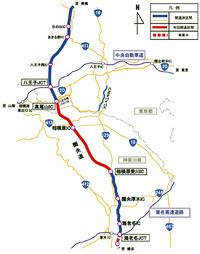 2014年6月28日、圏央道の相模原愛川ICから、高尾山ICの14.8kmが開通し、中央道、東名高速がつながった。     (画像提供:NEXCO中日本)