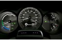 タコメーターにかわり、低燃費走行の目安を表示する「ハイブリッドシステムインジケーター」が備わる。手前の6点の光が、「ドライバーモニター付きプリクラッシュセーフティシステム」の「ドライバーモニターカメラ」。