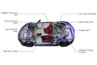 「NSX」のSH-AWDシステムは、フロントに2つ、リアに1つモーターを配置している。