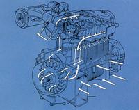 DDACの冷却方法を示した図。左端のシロッコファンから圧送された空気がシリンダーや同ヘッドの周囲に設けられた二重壁を通過して冷却し、同時にグリルから取り入れた走行風がエンジン外壁を冷却する。