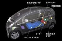 「i MiEV」のパワープラントの配置図。「i」ではエンジンやトランスミッションがあった場所に電動モーターやインバーター、車載充電器を、ガソリンタンクがあった場所にバッテリーが搭載された。