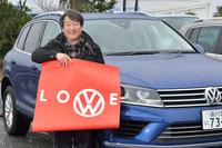 取材に対応していただいた、フォルクスワーゲン グループ ジャパンの池畑 浩さん。「フォルクスワーゲン=LOVE(愛)」というメッセージをいただきました。