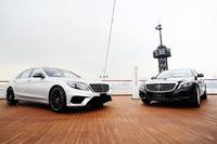 新型「Sクラス」の発表会は東京・晴海に停泊する豪華客船「日本丸」の船内で行われた。